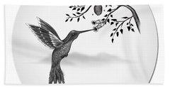 Humming Bird On Oval Beach Sheet
