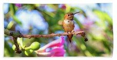 Humming Bird Pink Flowers Beach Towel by Stephanie Hayes