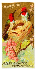 Humming Bird Victorian Tobacco Card By Allen And Ginter Beach Towel