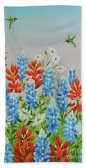 Beach Towel featuring the painting Humming Birds Feeding On Wildflowers by Jimmie Bartlett
