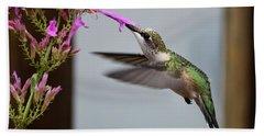 Hummingbird And Agastache Beach Sheet by Kathy Eickenberg