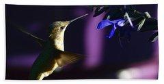 Hummingbird And Blue Flower Beach Sheet by Kathy Eickenberg