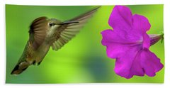 Hummingbird And Flower Beach Sheet