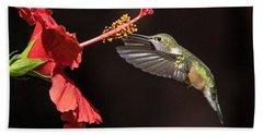 Hummingbird And Hibiiscus Beach Towel