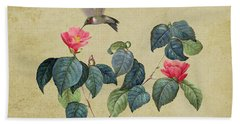 Hummingbird And Japanese Camillea Beach Towel