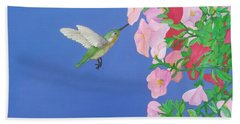 Hummingbird And Petunias Beach Towel