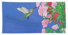 Hummingbird And Petunias Beach Sheet