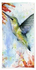 Hummingbird And Red Flower Watercolor Beach Towel by Olga Shvartsur