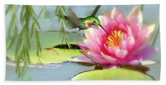 Hummingbird And Water Lily Beach Towel