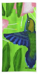 Beach Sheet featuring the painting Hummingbird by Artists With Autism Inc