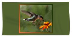 Hummingbird Art Beach Towel
