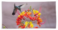 Beach Towel featuring the photograph Hummingbird At Work by Dan McManus