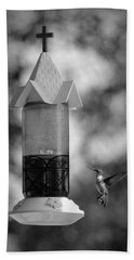 Hummingbird - Bw Beach Towel