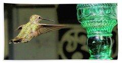 Hummingbird Coming In Beach Towel