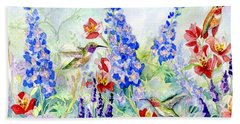 Hummingbird Garden In Spring Beach Towel