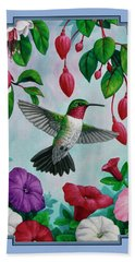 Hummingbird Greeting Card 2 Beach Towel by Crista Forest