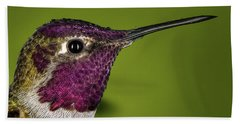 Beach Sheet featuring the photograph Hummingbird Head Shot With Raindrops by William Lee
