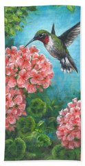 Beach Towel featuring the painting Hummingbird Heaven by Kim Lockman