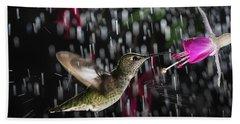 Hummingbird Hovering In Rain With Splash Beach Towel