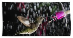 Hummingbird Hovering In Rain With Splash Beach Towel