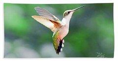 Hummingbird Hovering Beach Sheet by Meta Gatschenberger