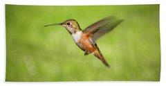 Hummingbird In Flight Beach Towel