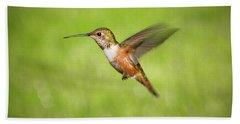 Hummingbird In Flight Beach Towel