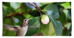 Hummingbird In Flight Beach Sheet