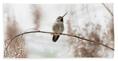 Hummingbird In Snow Beach Towel by Peggy Collins