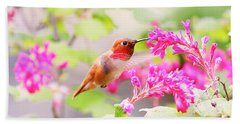 Hummingbird In Spring Beach Towel by Peggy Collins