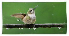 Hummingbird In The Rain Beach Towel by Christina Rollo