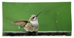 Hummingbird In The Rain Beach Towel