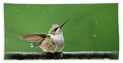 Hummingbird In The Rain Beach Towel