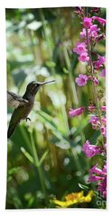 Hummingbird On Perry's Penstemon Beach Towel