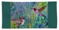 Hummingbird Pair Beach Sheet