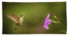 Hummingbird Pink Flower Beach Towel