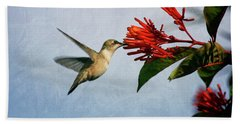 Hummingbird Red Flowers Beach Towel