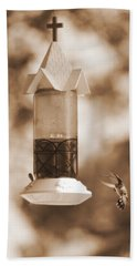 Hummingbird - Sepia Beach Towel