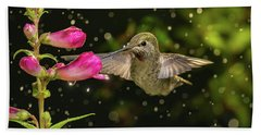 Beach Towel featuring the photograph Hummingbird Visits Flowers In Raining Day by William Lee