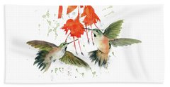 Hummingbird Watercolor Beach Towel