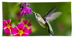 Hummingbird With Flower Beach Towel