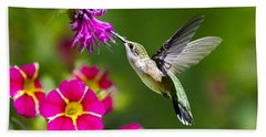Hummingbird With Flower Beach Towel
