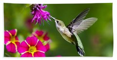 Hummingbird With Flower Beach Towel by Christina Rollo