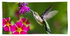 Hummingbird With Flower Beach Sheet by Christina Rollo