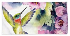 Hummingbird With Pink Flowers Beach Towel