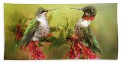 Hummingbirds And Blossoms Beach Sheet