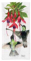 Hummingbirds And Fuchsia Beach Towel