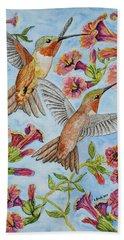 Hummingbirds And Hibiscus II Beach Towel