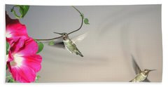 Beach Towel featuring the photograph Hummingbirds Coming And Going by Joyce Dickens