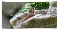 Hummingbirds Do Take Baths Beach Towel by Jennie Marie Schell